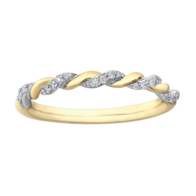 Yellow And White Gold Diamond Band