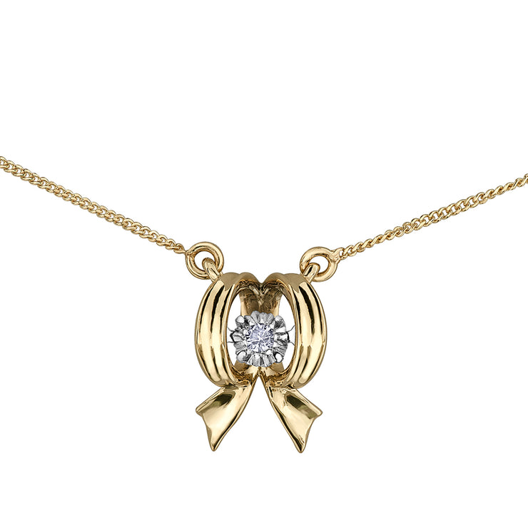 Yellow Gold Diamond Bow Necklace
