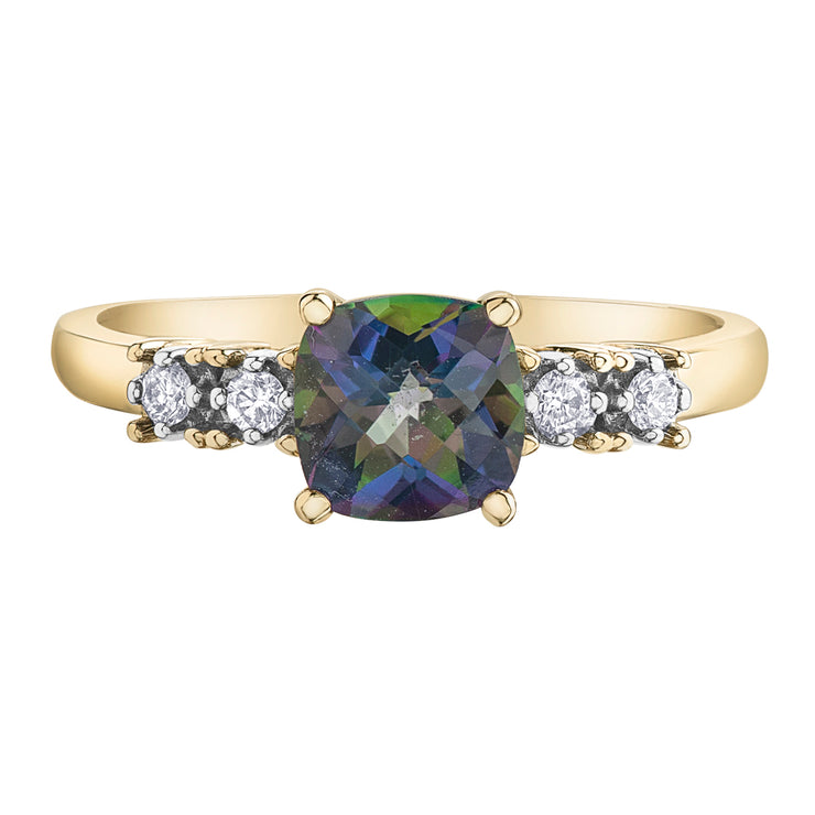 Yellow Gold Mystic Topaz Ring