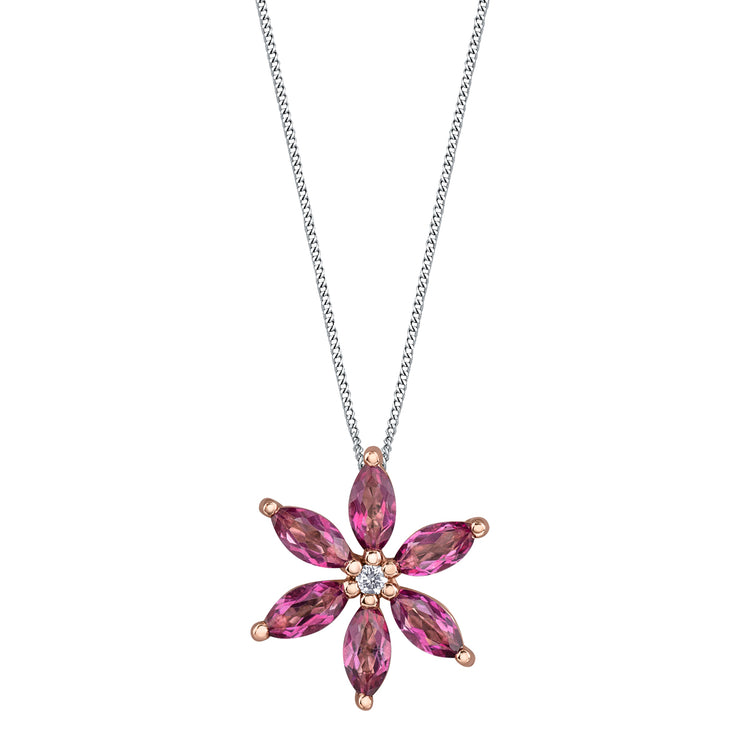 White And Rose Gold Pink Topaz Necklace