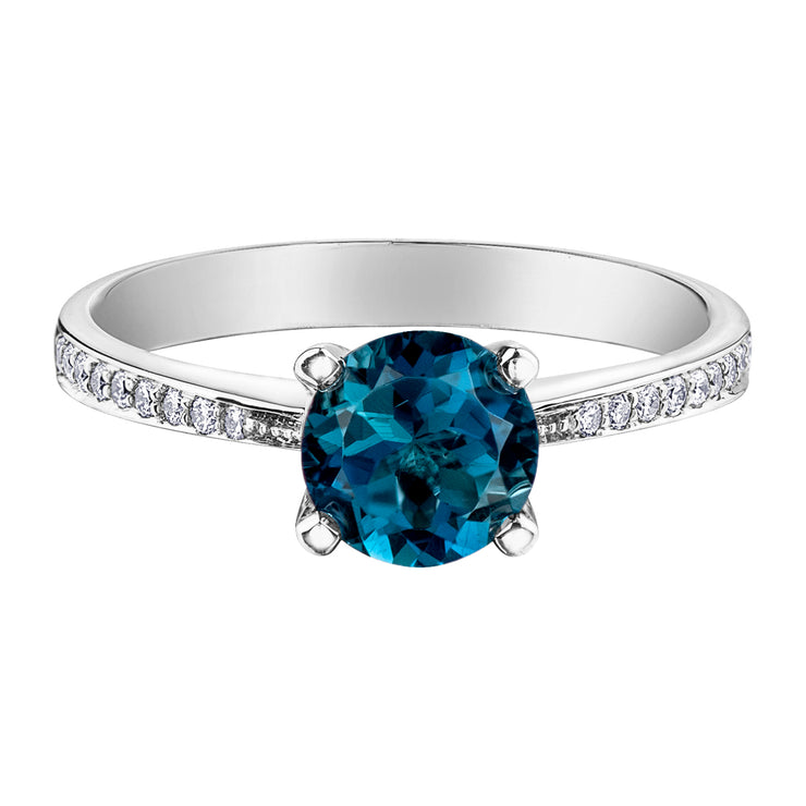 White Gold Ring With London Blue Topaz