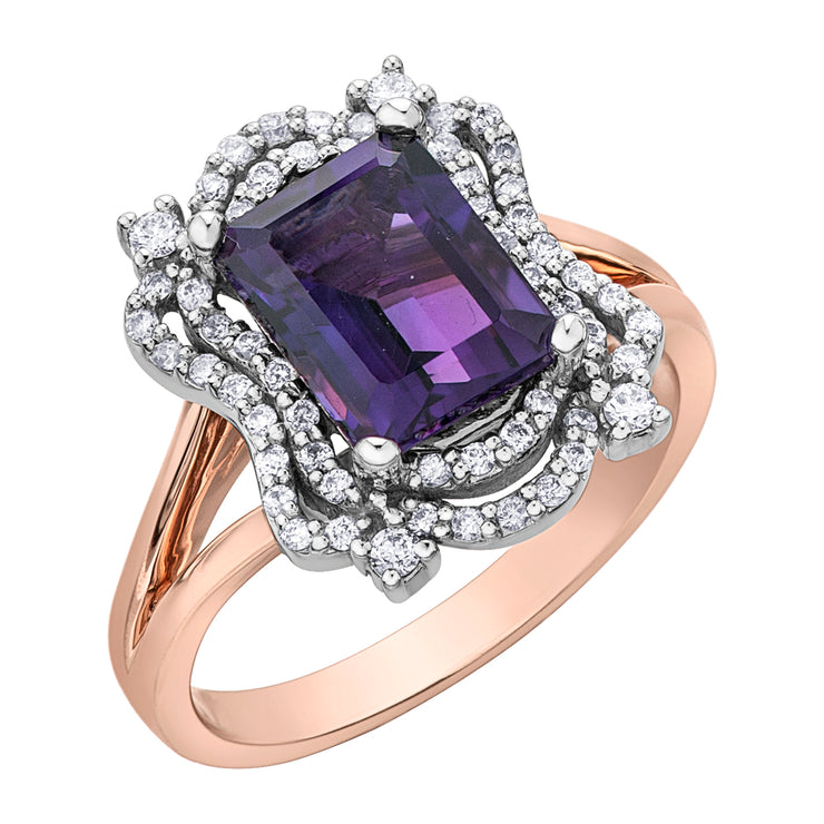 Rose And White Gold Amethyst Ring