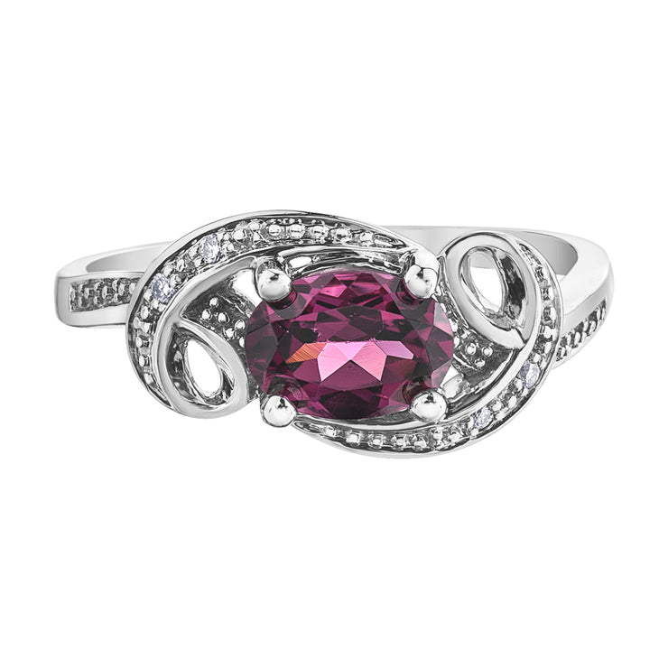White Gold Rhodolite Garnet Ring