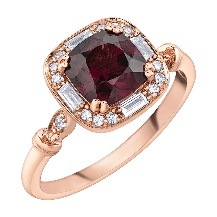 Rose Gold Garnet Ring
