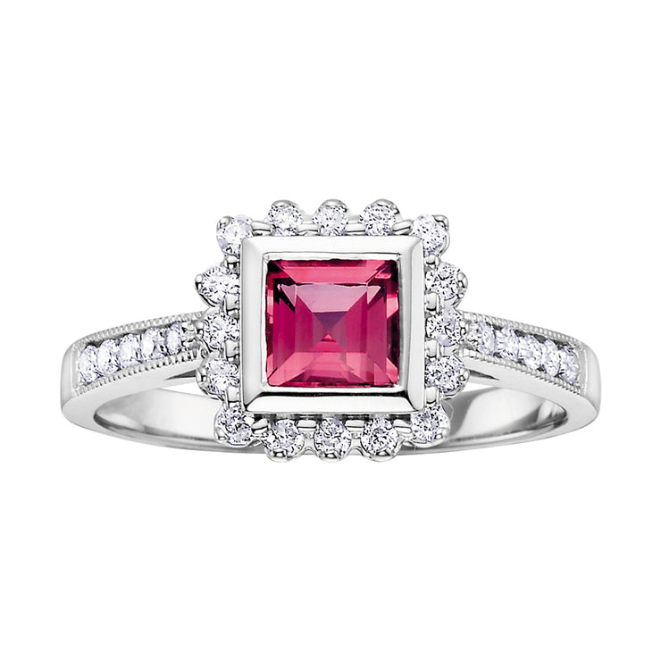 White Gold Diamond And Pink Topaz Ring