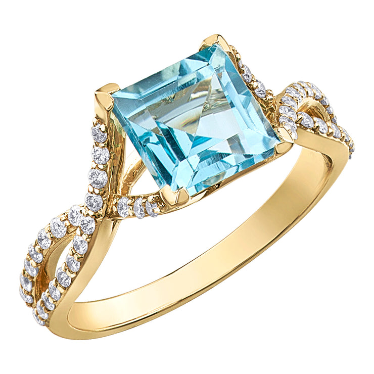 Yellow Gold Sky Blue Topaz Ring