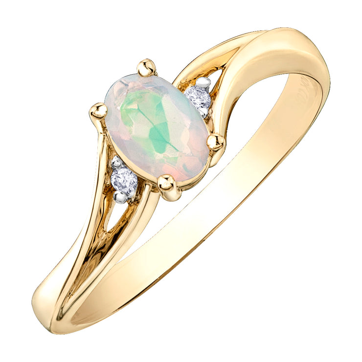 Yellow Gold Opal And Diamond Ring