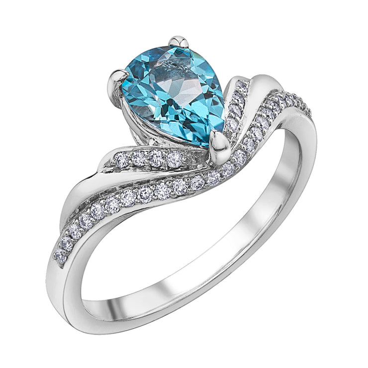 White Gold Blue Topaz And Diamond Ring