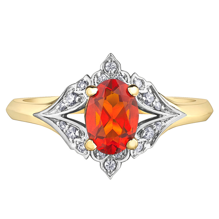 Yellow And White Gold Opal And Diamond Ring