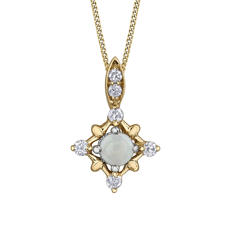 Yellow And White Gold Opal And Diamond Pendant