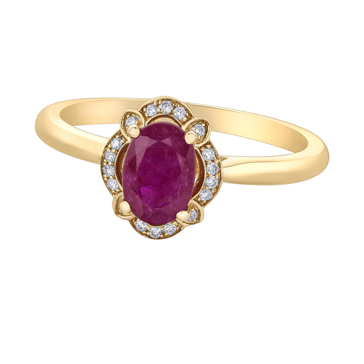 Yellow Gold Ruby And Diamond Ring