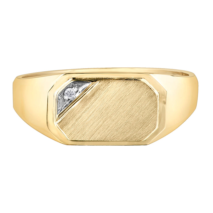 Yellow Gold Diamond Signet Ring