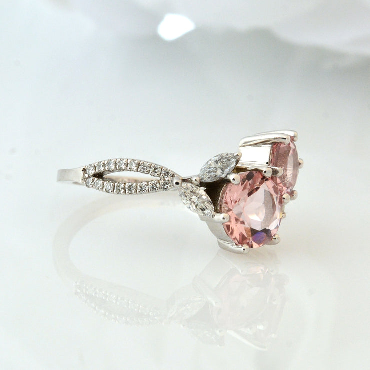 14Kt White Gold, Morganite, and Diamond Ring