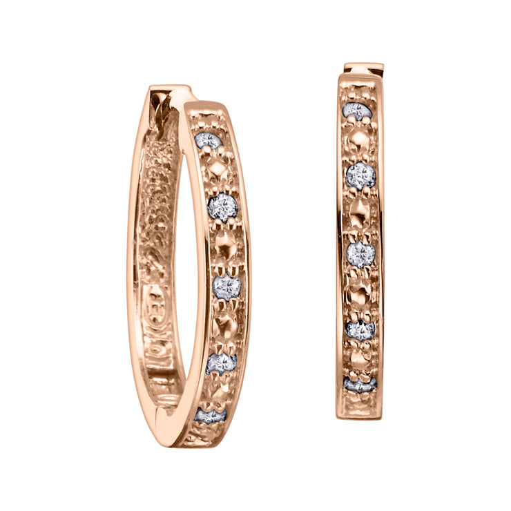 Yellow White Or Rose Gold Diamond Hoop Earrings