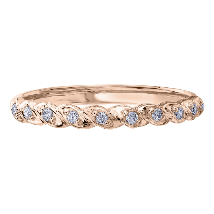 Yellow Rose Or White Gold Diamond Band