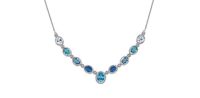 White Gold Blue Gradient Necklace With Diamonds