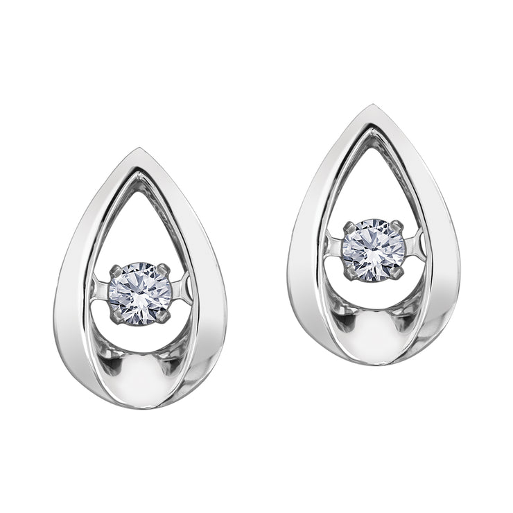 White Gold Diamond Tear Drop Studs