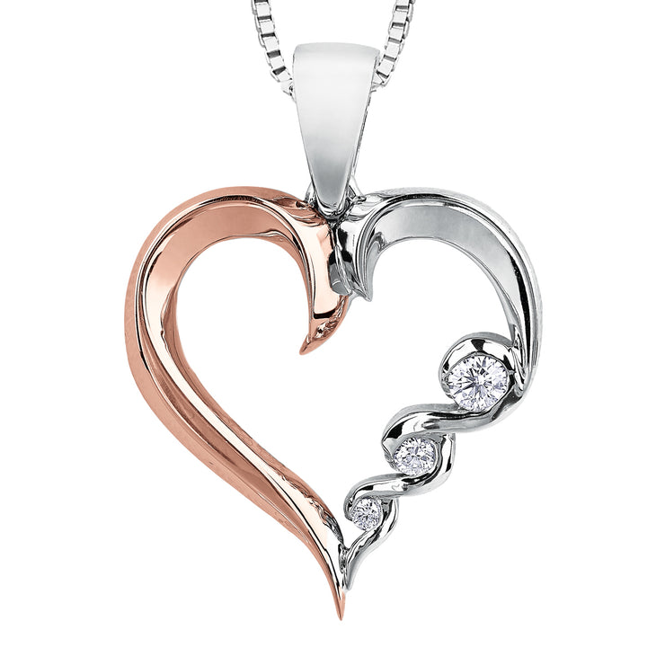 Rose And White Gold Diamond Necklace