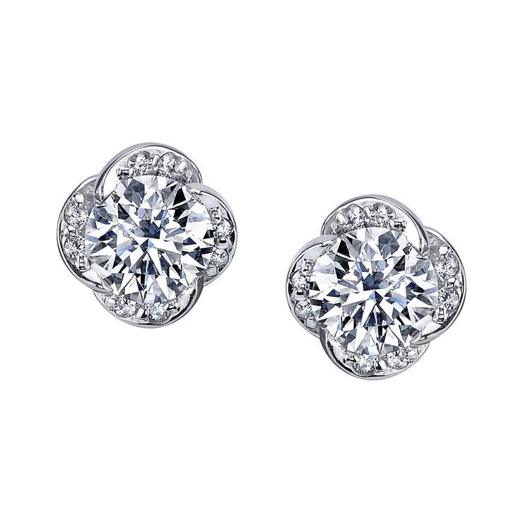 Maple Leaf Diamonds White Gold Studs