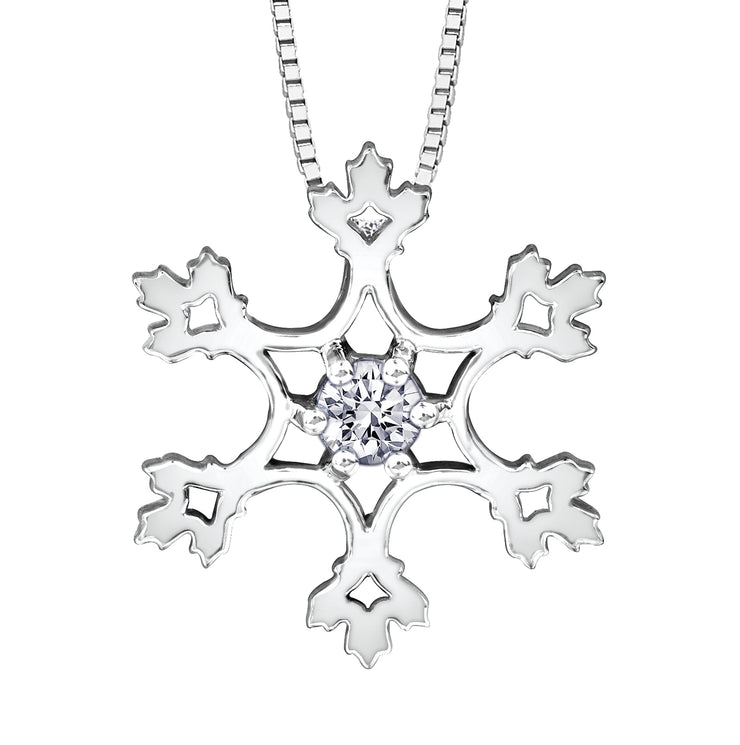 Maple Leaf Diamonds White Gold Pendant