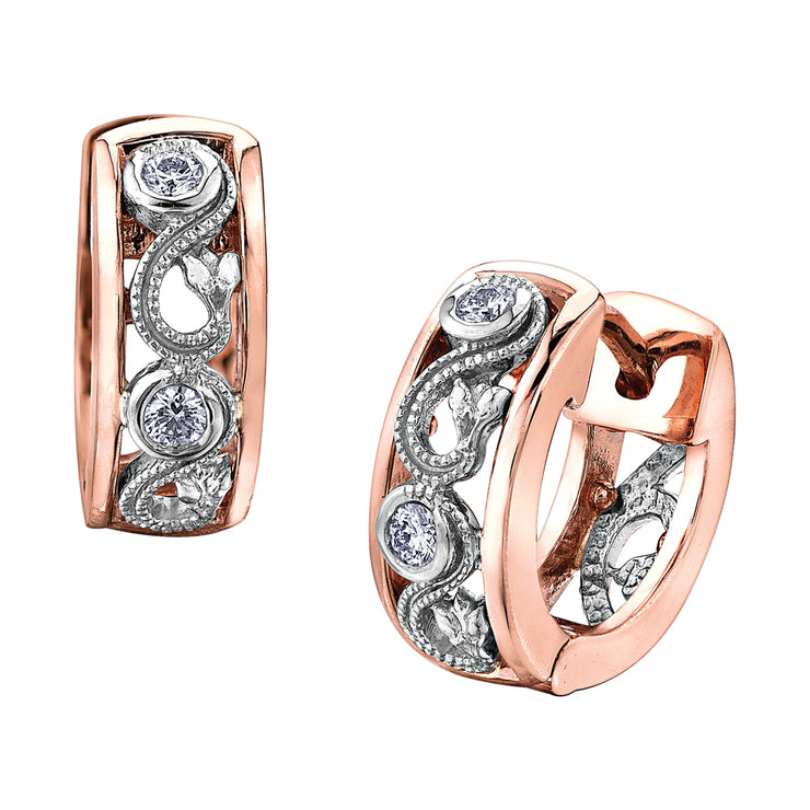 Maple Leaf Diamonds White And Rose Gold Earrings
