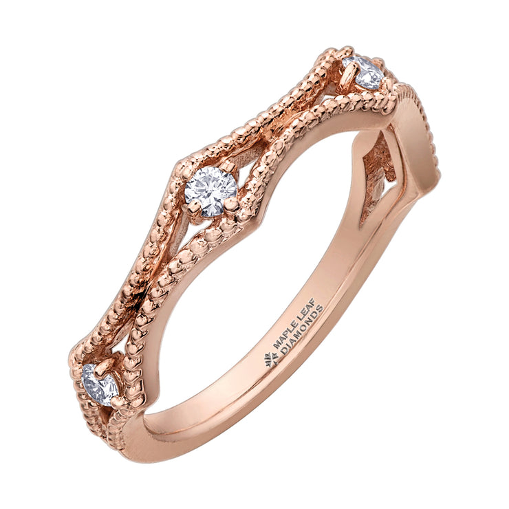 Maple Leaf Diamonds Rose Gold Ring