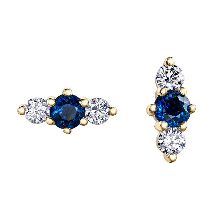 Yellow Canadian Gold Diamond And Sapphire Studs