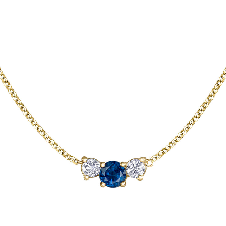 Maple Leaf Diamonds Yellow Gold Sapphire And Diamond Necklace