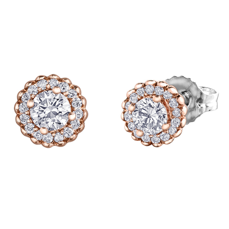 Maple Leaf Diamonds Rose Gold Diamond Studs
