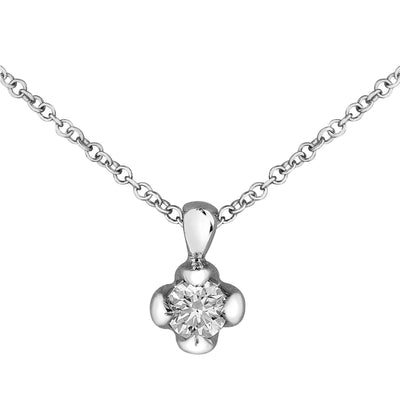 Canadian Maple Leaf White Gold Diamond Necklace