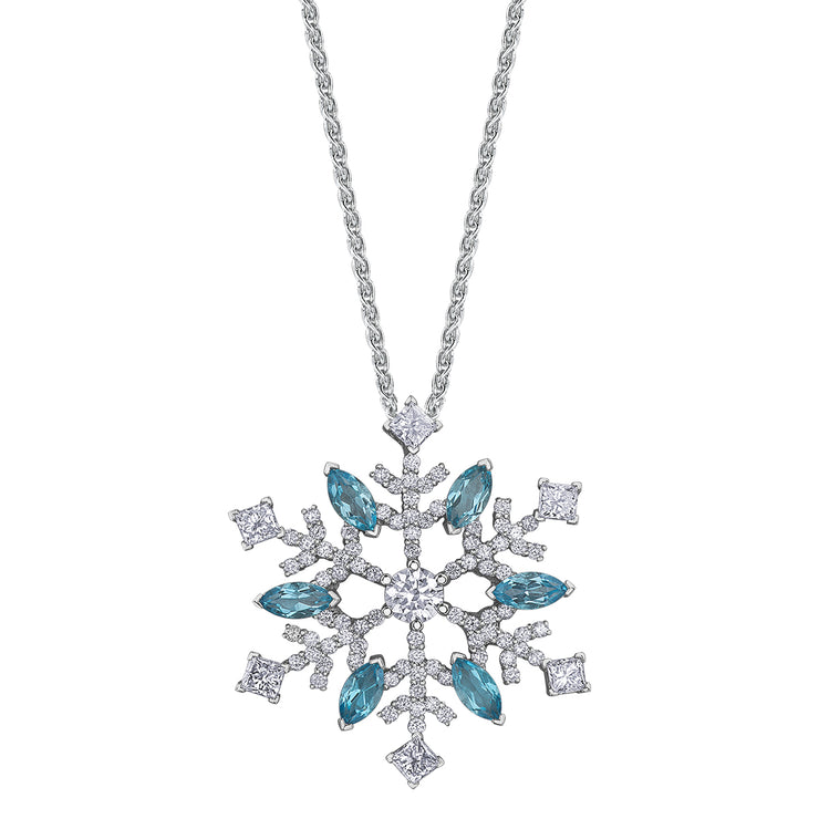 Canadian Maple Leaf Diamond And Blue Topaz Necklace