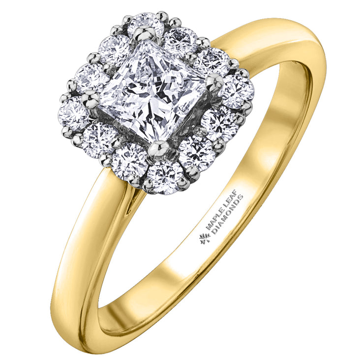 Maple Leaf Diamonds Yellow And White Gold Ring