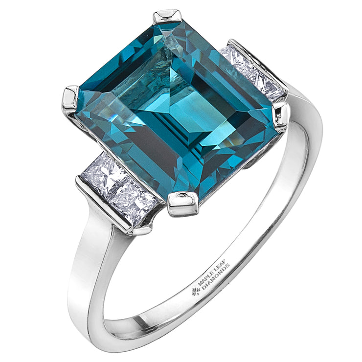 White Gold Diamond And Topaz Ring