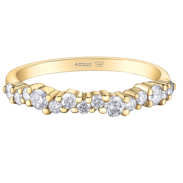 Maple Leaf Diamonds Yellow Gold Band