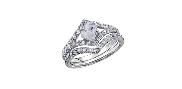 White Gold Rough Diamond Ring
