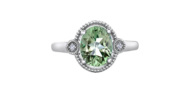 White Gold Green Amethyst Ring