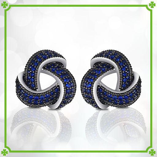 Blue Spinel Trinity Knot Earrings