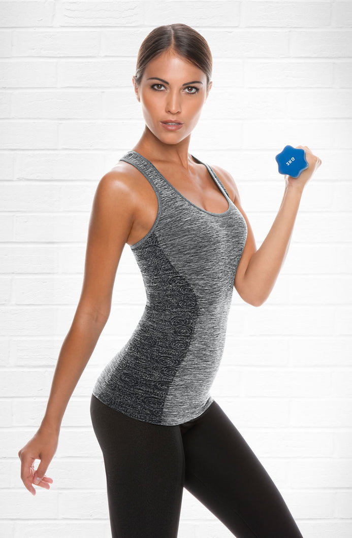 Control Body Tank Top with Bra - Melange/Grey