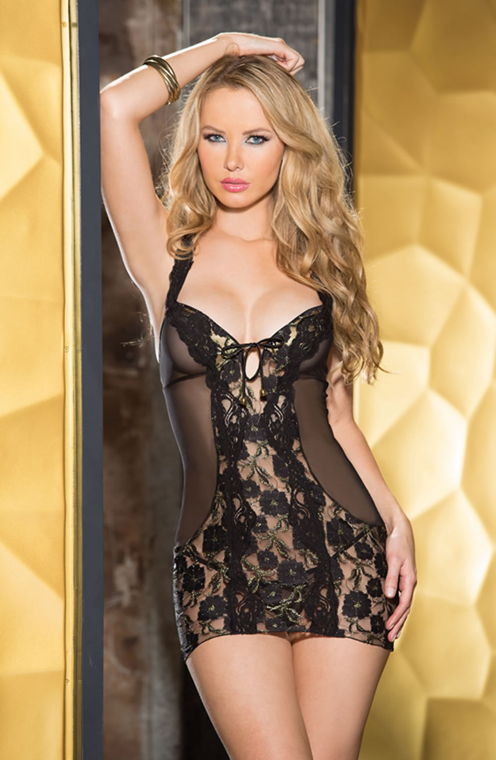 SHIRLEY OF HOLLYWOOD SOH 25437 CHEMISE - BLACK/GOLD