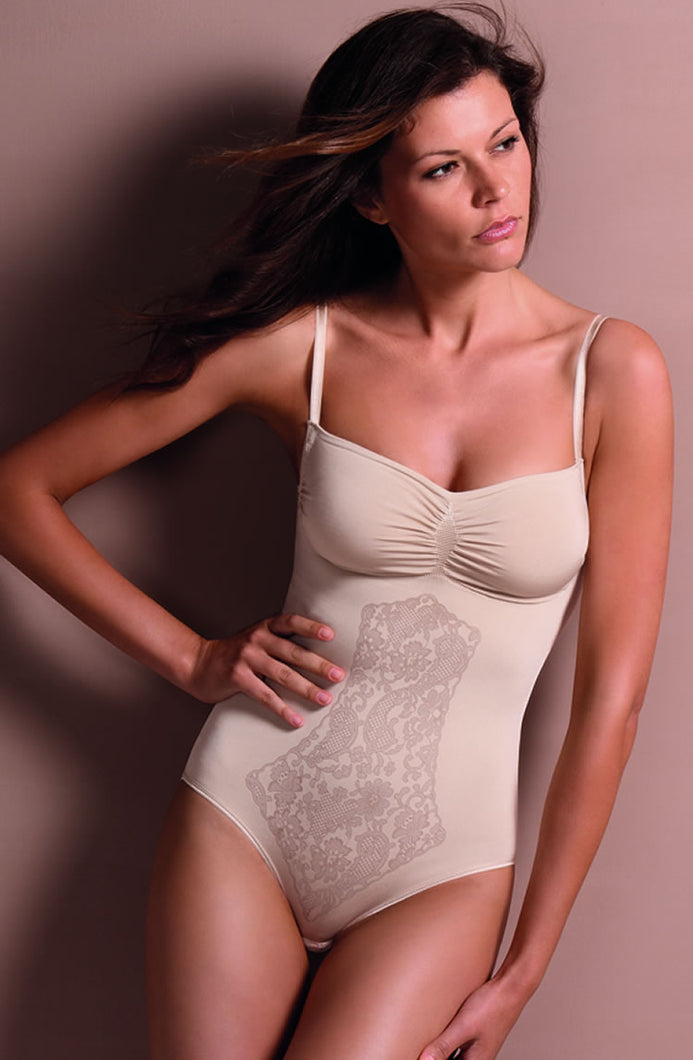 Control Body Body with Fine Straps & Screen Print Lace - Firm Support - Various