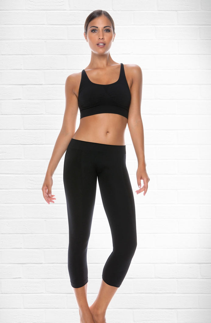 Control Body Nero 3/4 Length Sports Leggings - Nero