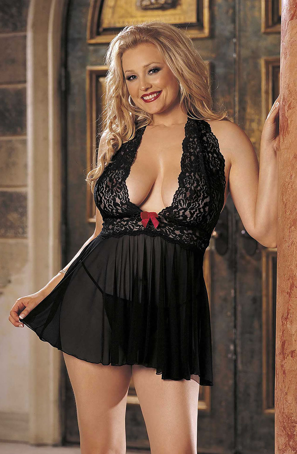 Babydoll Set Plus Size by Shirley of Hollywood 96164Q Black