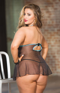BABYDOLL SET PLUS SIZE BY SHIRLEY OF HOLLYWOOD TURQUOISE/BLACK