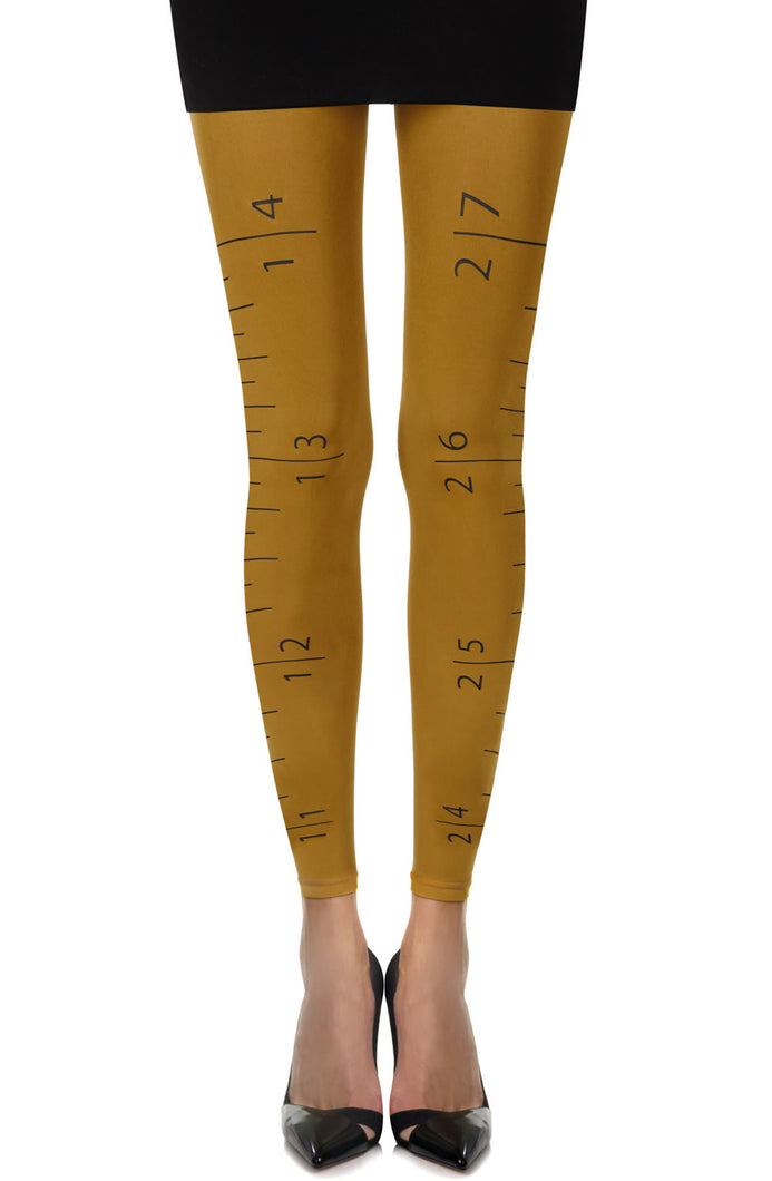 "Zohara ""Tape Measure"" Mustard Footless Tights"