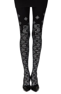 Zohara Kaleidoscope Black Print Tights Hosiery