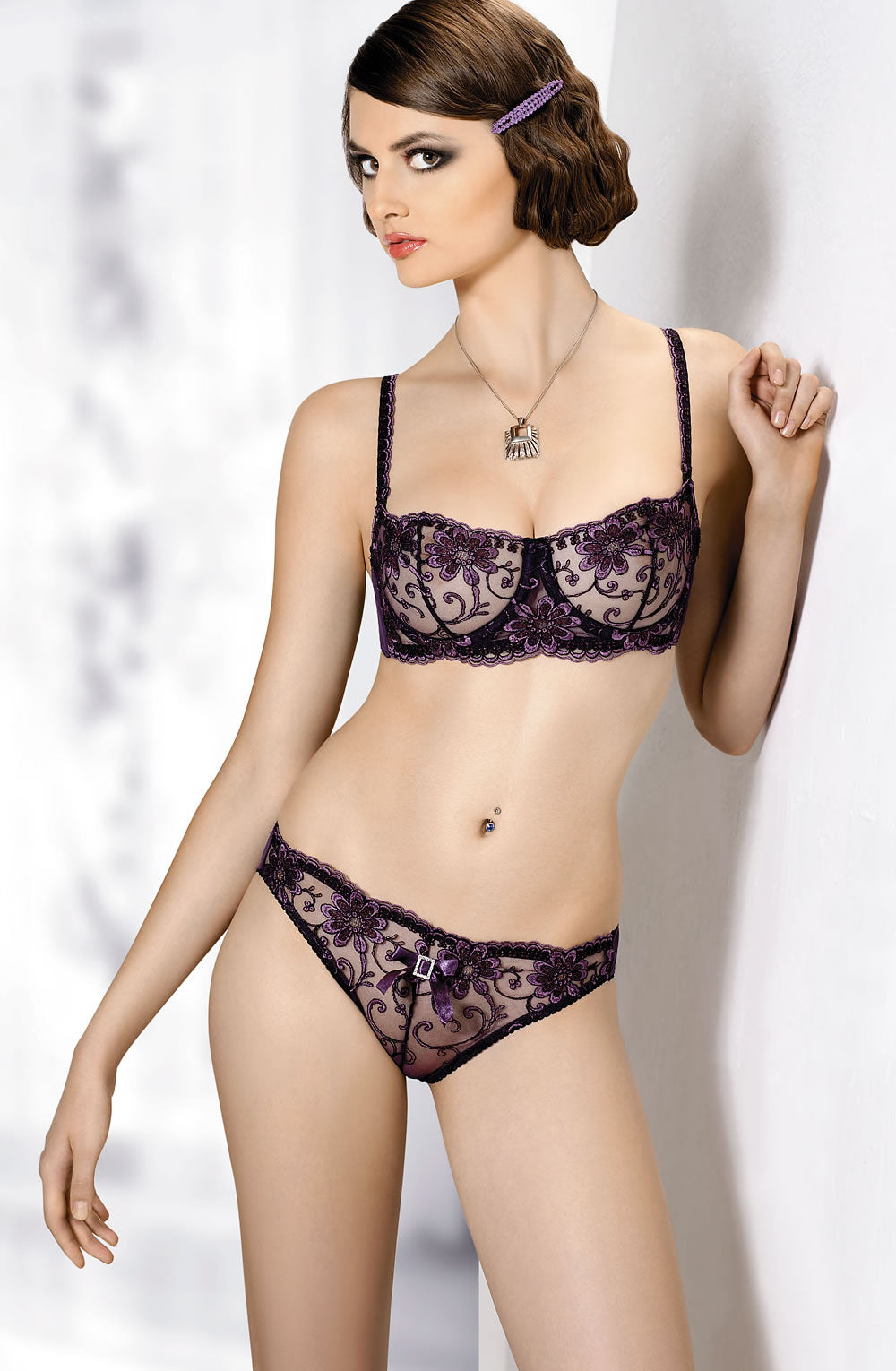 GRACYA PURPLE LACE BALCONETTE BRA B-181 - DEEP PURPLE