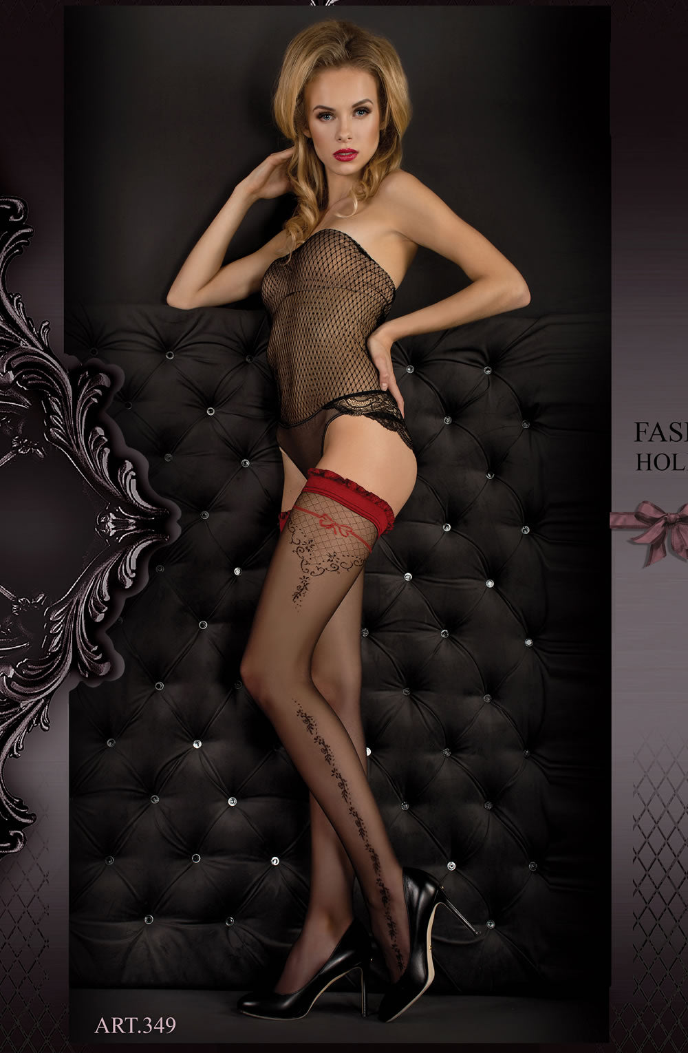 Ballerina 349 Hold Ups Nero (Black)/Red