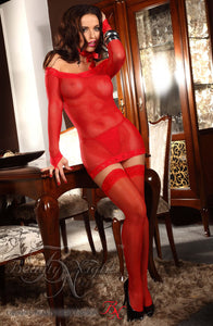 BEAUTY NIGHT MARGAUX DRESS LINGERIE SET - RED
