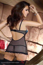 Load image into Gallery viewer, BEAUTY NIGHT GLAMOUR CHEMISE SET - INC THONG - BLACK/BLUE