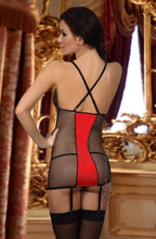 Load image into Gallery viewer, BEAUTY NIGHT HEATHER CHEMISE - INC THONG - BLACK/RED